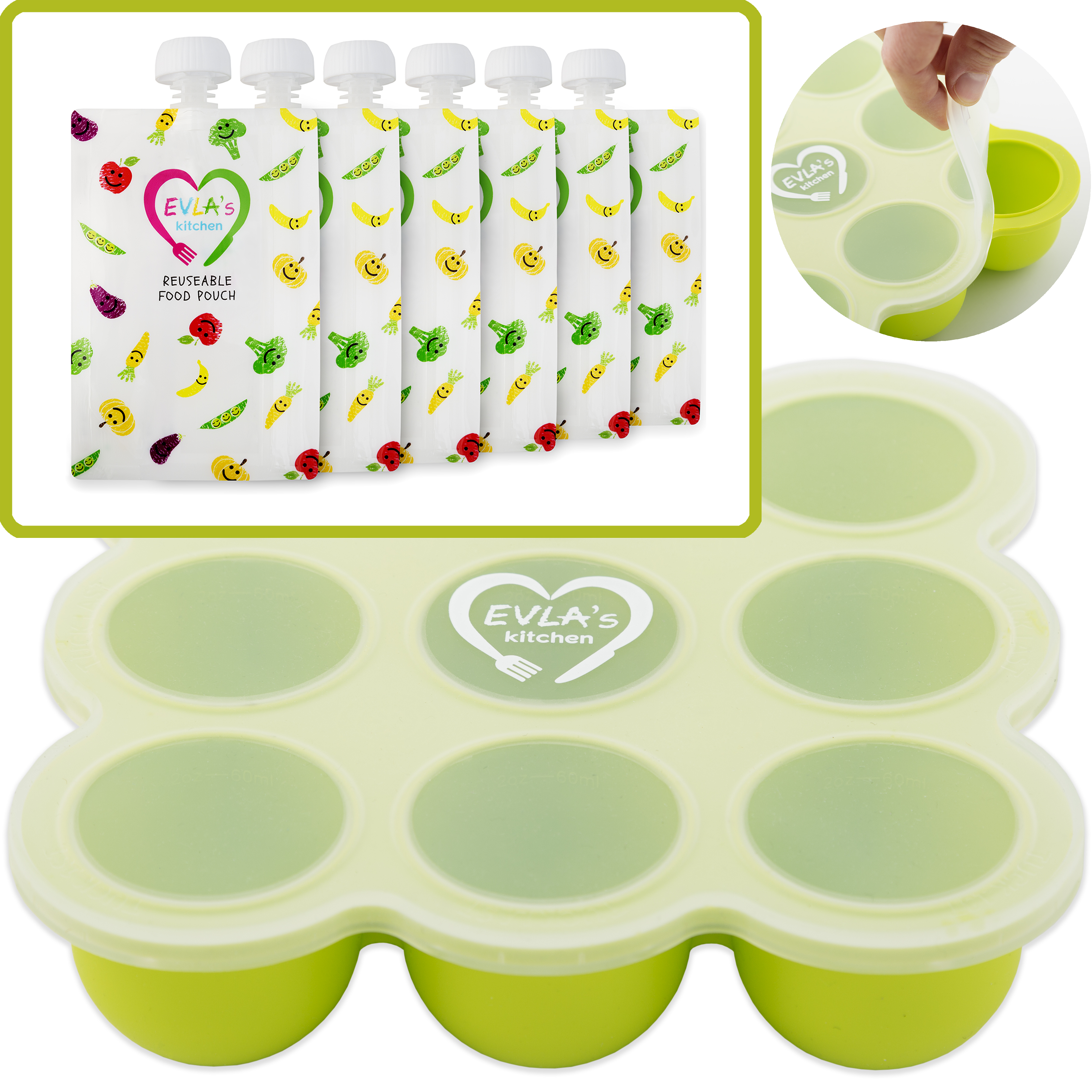 Baby Food Freezer Trays & Reusable Food Pouches Set