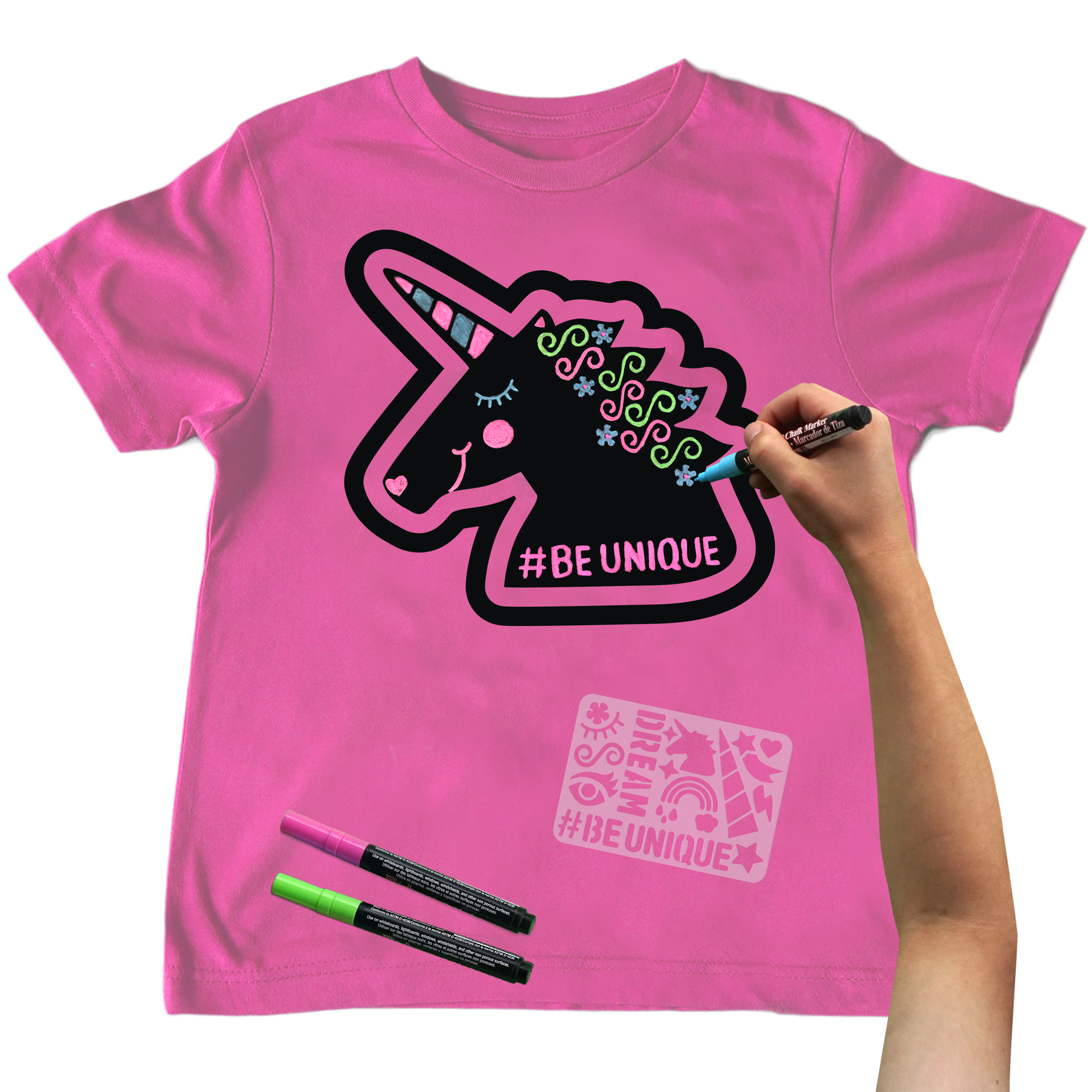 Chalk of the Town  Unicorn Chalkboard T-Shirt Kit