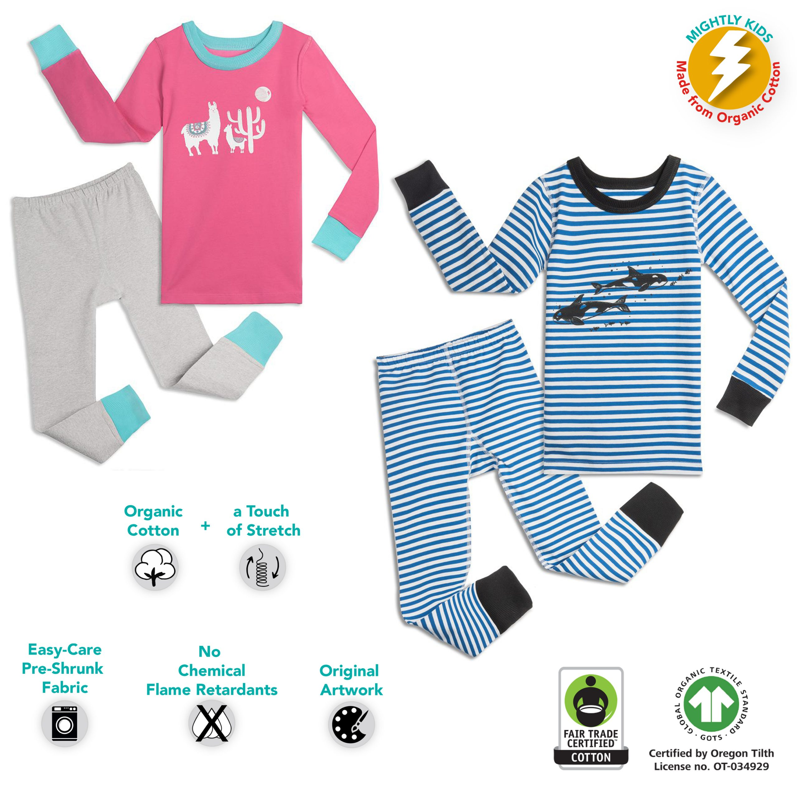"Mightly  Organic Cotton  ""No Nasties"" Pajama Sets"