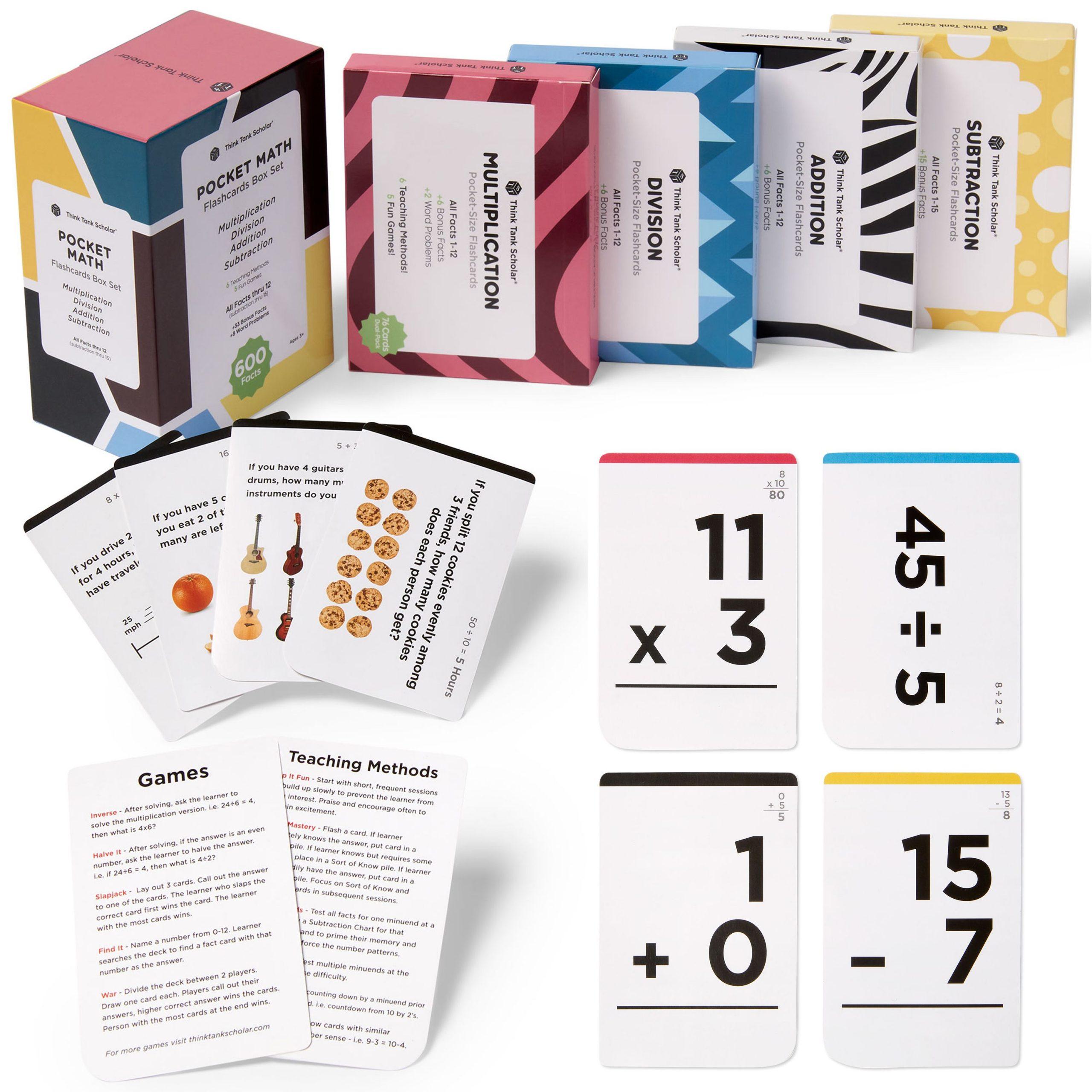 Think Tank Scholar 600 Pocket-Size Math Flash Cards: Addition, Subtraction, Multiplication & Division